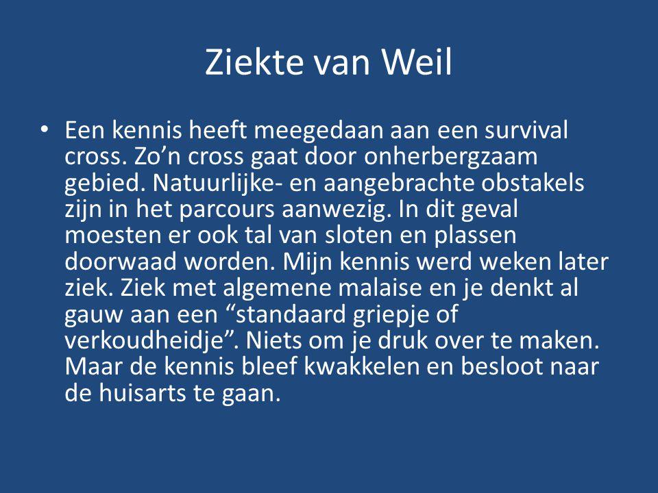 Ziekte van Weil Een kennis heeft meegedaan aan een survival cross. Zo'n cross gaat door onherbergzaam gebied. Natuurlijke- en aangebrachte obstakels z