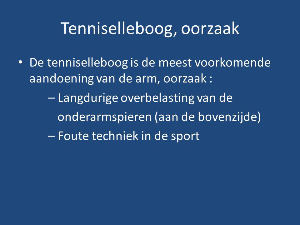 Tenniselleboog, oorzaak De tenniselleboog is de meest voorkomende aandoening van de arm, oorzaak : – Langdurige overbelasting van de onderarmspieren (