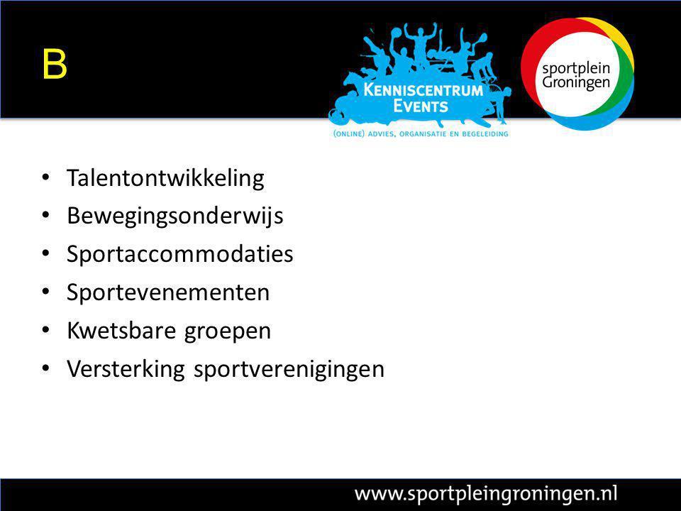B Talentontwikkeling Bewegingsonderwijs Sportaccommodaties Sportevenementen Kwetsbare groepen Versterking sportverenigingen
