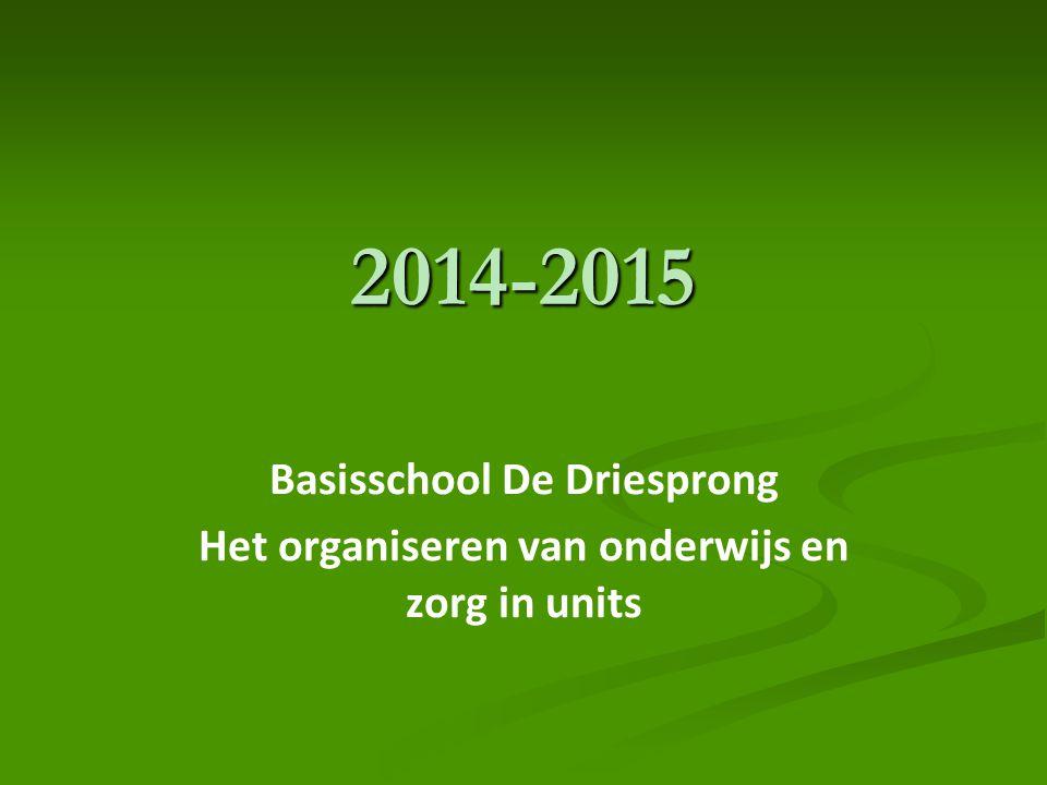 2014-2015 Basisschool De Driesprong Het organiseren van onderwijs en zorg in units