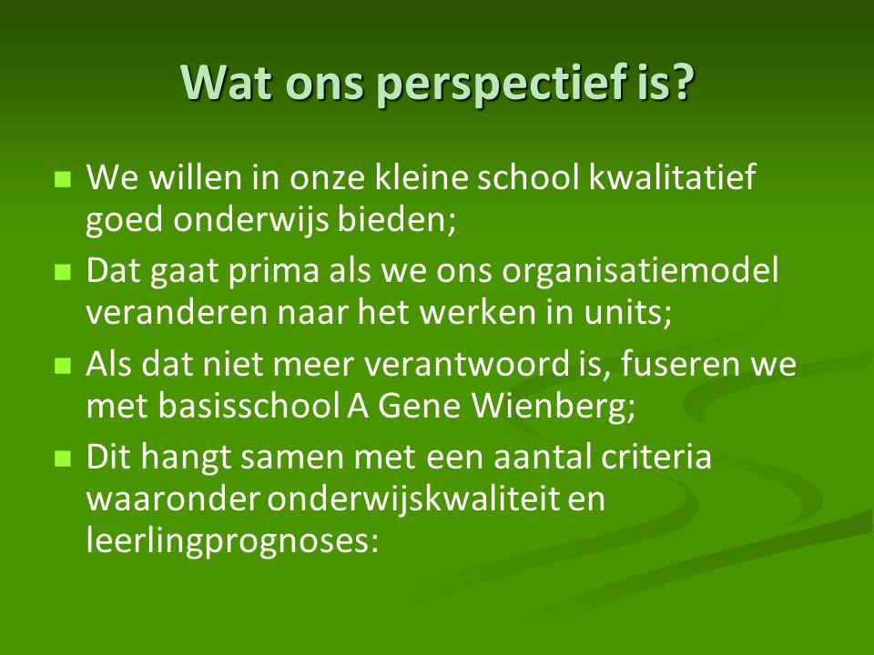 Wat ons perspectief is? We willen in onze kleine school kwalitatief goed onderwijs bieden; Dat gaat prima als we ons organisatiemodel veranderen naar