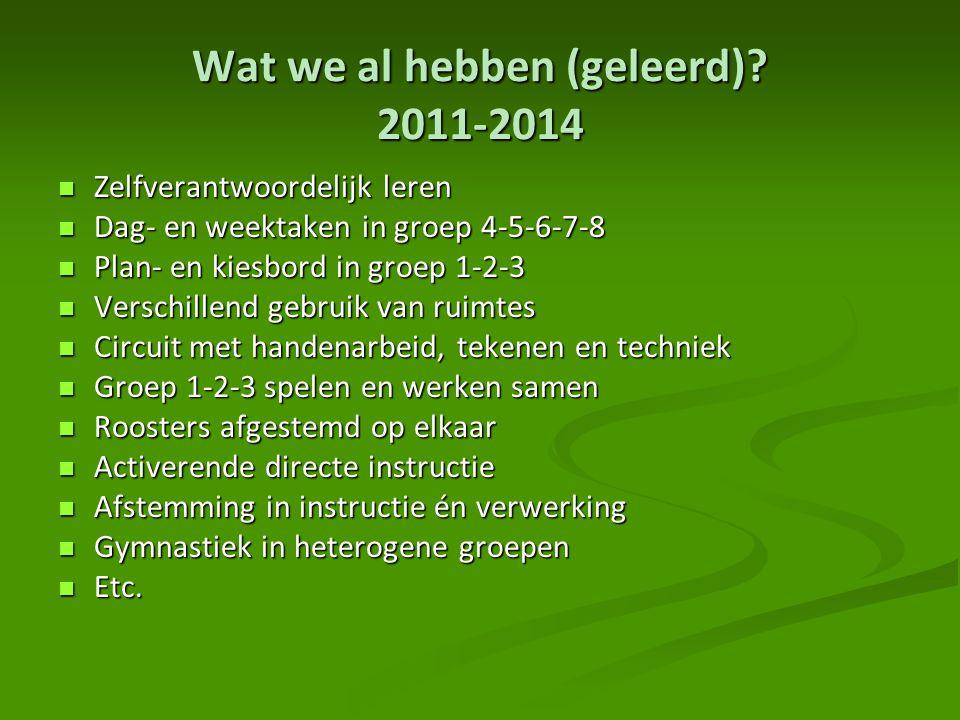 Wat we al hebben (geleerd)? 2011-2014 Zelfverantwoordelijk leren Zelfverantwoordelijk leren Dag- en weektaken in groep 4-5-6-7-8 Dag- en weektaken in