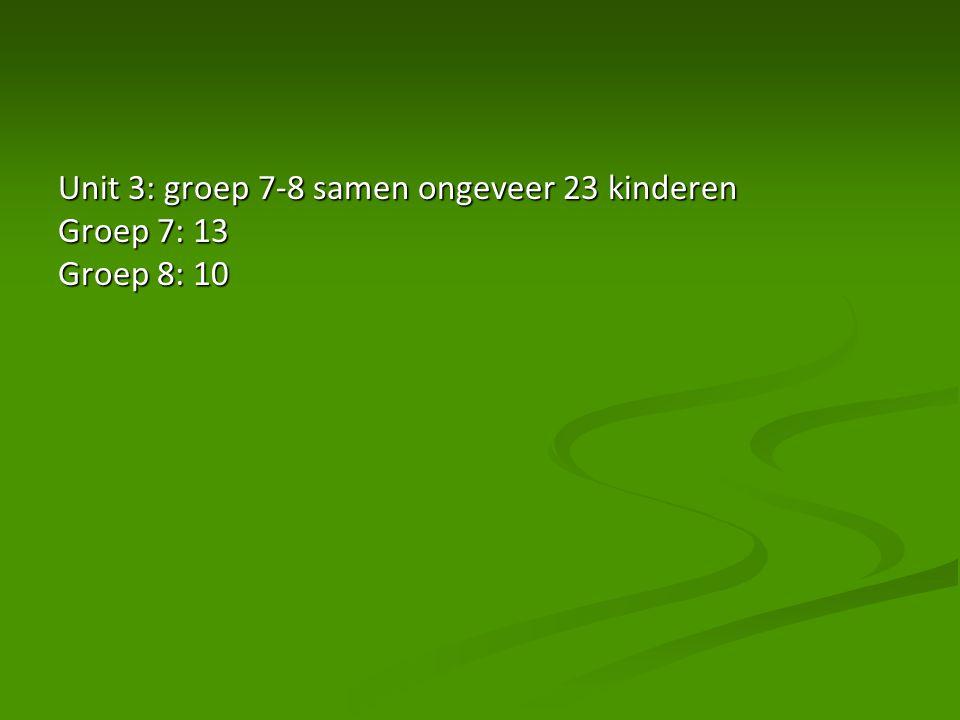 Unit 3: groep 7-8 samen ongeveer 23 kinderen Groep 7: 13 Groep 8: 10