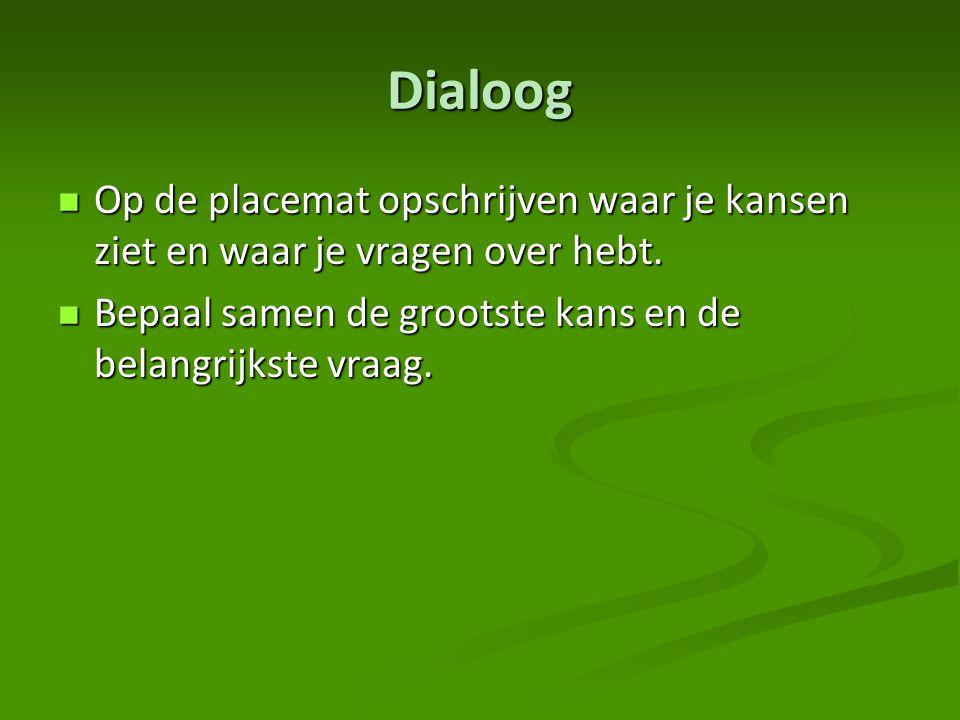 Dialoog Op de placemat opschrijven waar je kansen ziet en waar je vragen over hebt. Op de placemat opschrijven waar je kansen ziet en waar je vragen o