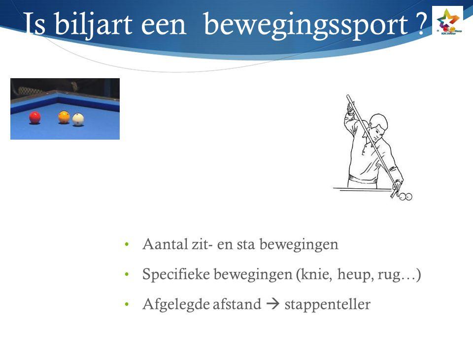 Is biljart een bewegingssport ? Aantal zit- en sta bewegingen Specifieke bewegingen (knie, heup, rug…) Afgelegde afstand  stappenteller
