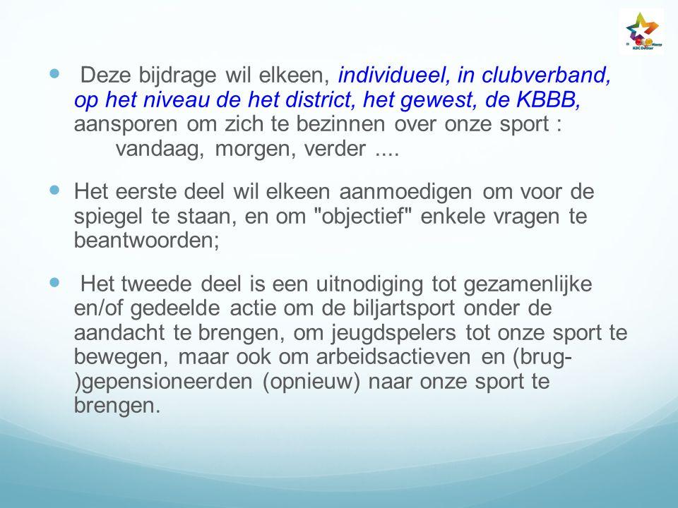 Deze bijdrage wil elkeen, individueel, in clubverband, op het niveau de het district, het gewest, de KBBB, aansporen om zich te bezinnen over onze spo