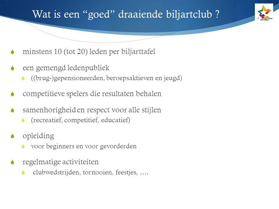 """Wat is een """"goed"""" draaiende biljartclub ?  minstens 10 (tot 20) leden per biljarttafel  een gemengd ledenpubliek  ((brug-)gepensioneerden, beroepsa"""