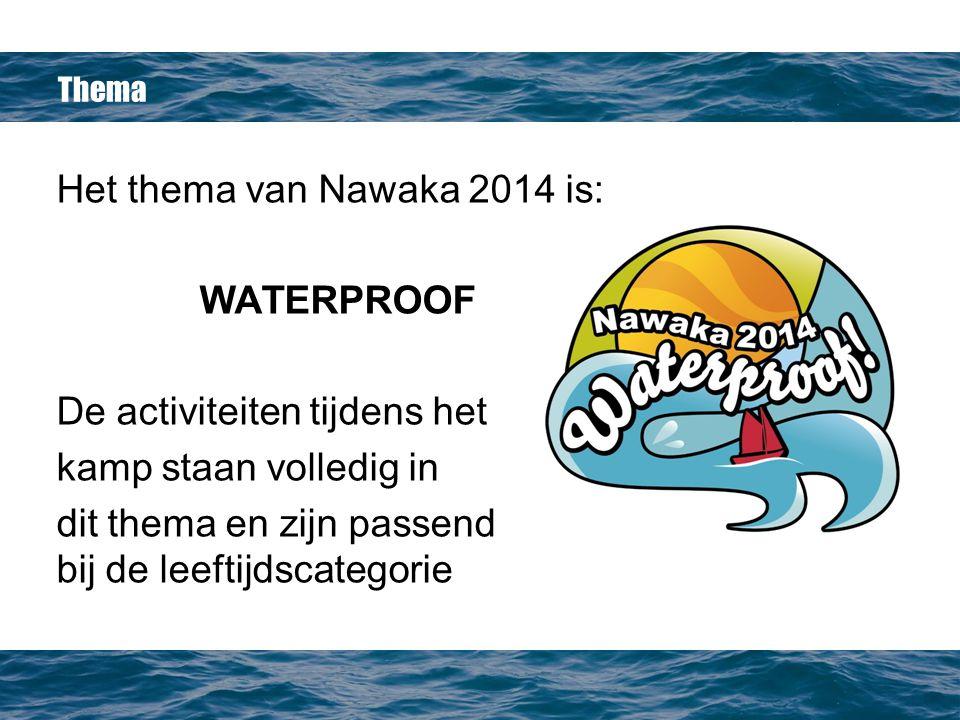 Thema Het thema van Nawaka 2014 is: WATERPROOF De activiteiten tijdens het kamp staan volledig in dit thema en zijn passend bij de leeftijdscategorie