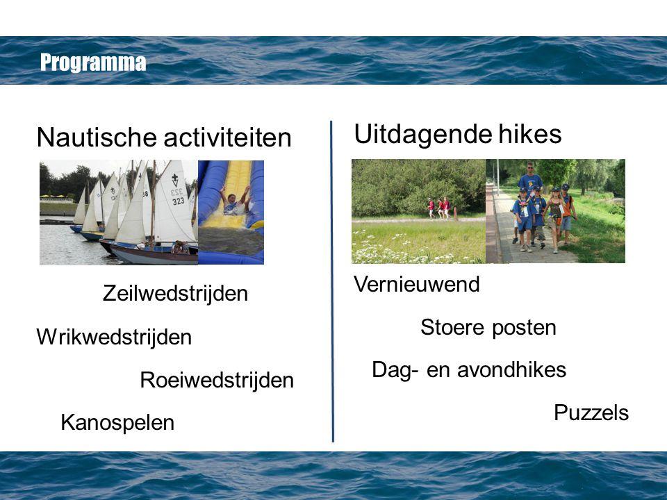 Programma Nautische activiteiten Zeilwedstrijden Wrikwedstrijden Roeiwedstrijden Kanospelen Uitdagende hikes Vernieuwend Stoere posten Dag- en avondhikes Puzzels