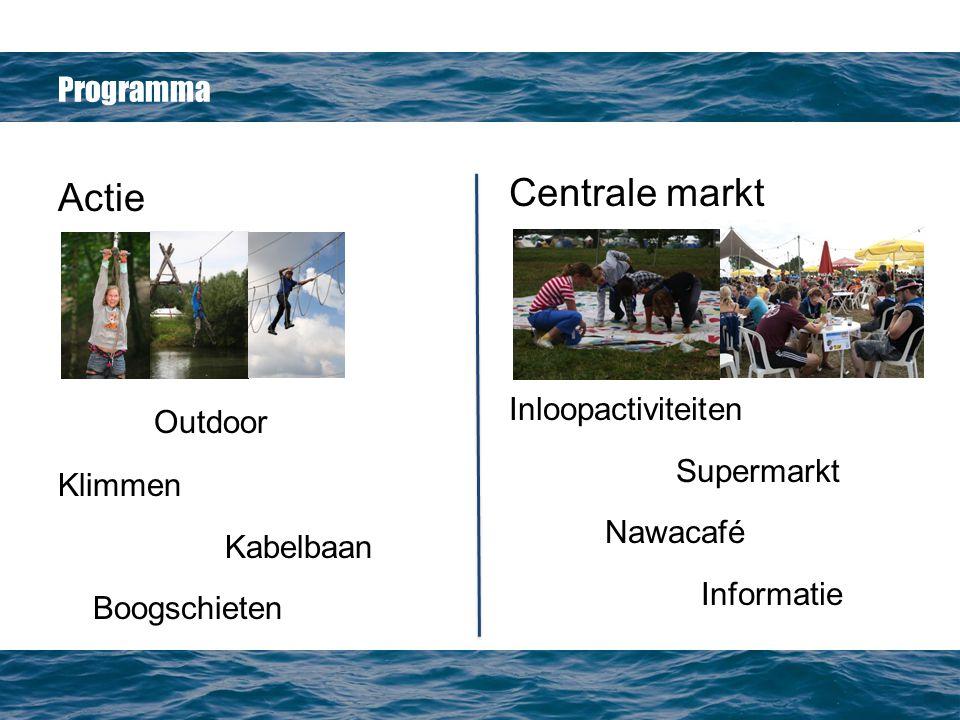 Programma Actie Outdoor Klimmen Kabelbaan Boogschieten Centrale markt Inloopactiviteiten Supermarkt Nawacafé Informatie