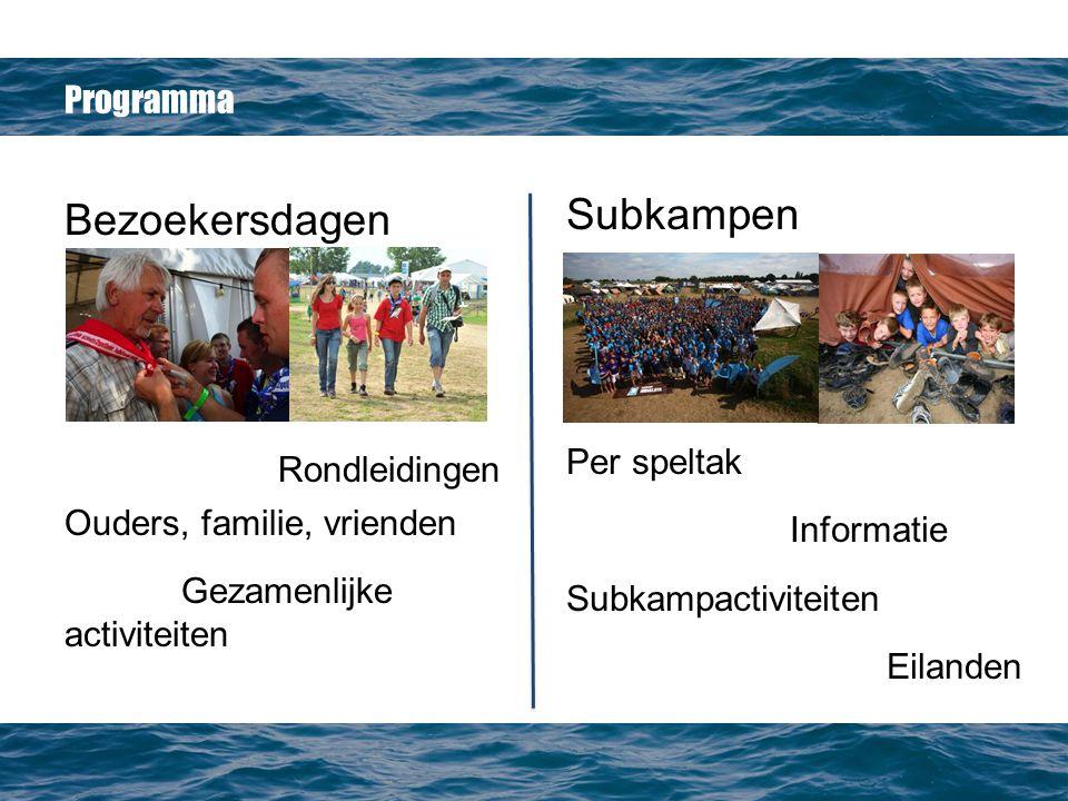 Programma Bezoekersdagen Rondleidingen Ouders, familie, vrienden Gezamenlijke activiteiten Subkampen Per speltak Informatie Subkampactiviteiten Eilanden
