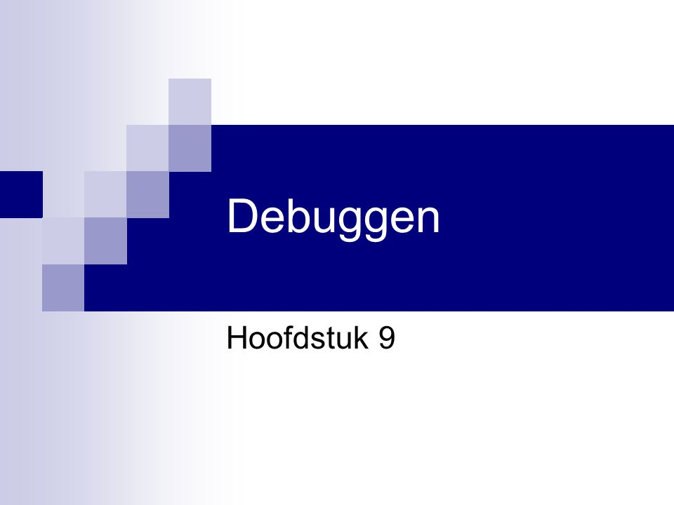 Visual Basic.NET voor studenten2 In dit hoofdstuk … Verschillende typen programmeerfouten Gebruik van de debugger Breakpoints en single stepping Veelvoorkomende fouten Optioneel (appendix): het.NET uitvoeringsmodel