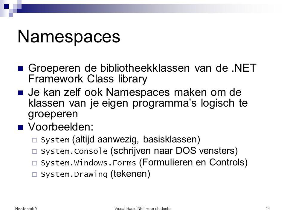 Hoofdstuk 9 Visual Basic.NET voor studenten14 Namespaces Groeperen de bibliotheekklassen van de.NET Framework Class library Je kan zelf ook Namespaces