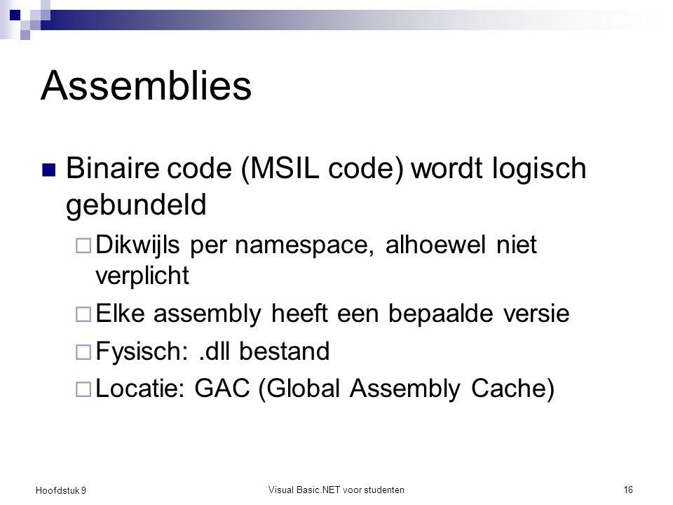 Hoofdstuk 9 Visual Basic.NET voor studenten16 Assemblies Binaire code (MSIL code) wordt logisch gebundeld  Dikwijls per namespace, alhoewel niet verp