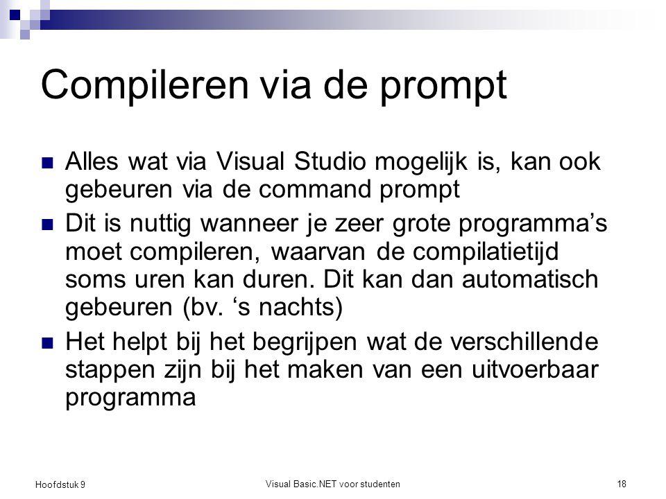 Hoofdstuk 9 Visual Basic.NET voor studenten18 Compileren via de prompt Alles wat via Visual Studio mogelijk is, kan ook gebeuren via de command prompt