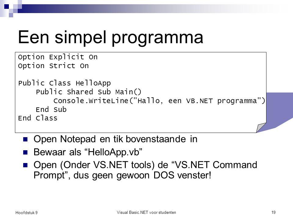 """Hoofdstuk 9 Visual Basic.NET voor studenten19 Een simpel programma Open Notepad en tik bovenstaande in Bewaar als """"HelloApp.vb"""" Open (Onder VS.NET too"""