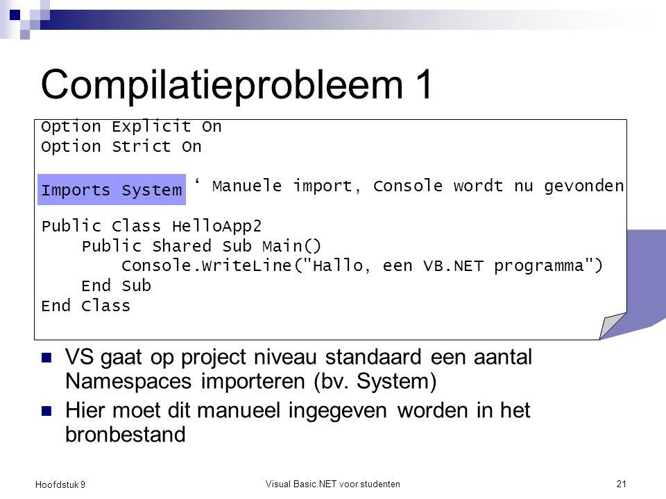 Hoofdstuk 9 Visual Basic.NET voor studenten21 Compilatieprobleem 1 VS gaat op project niveau standaard een aantal Namespaces importeren (bv. System) H