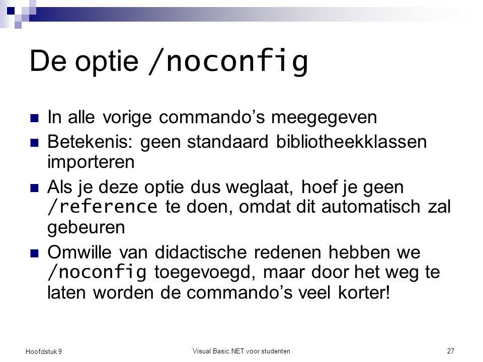 Hoofdstuk 9 Visual Basic.NET voor studenten27 De optie /noconfig In alle vorige commando's meegegeven Betekenis: geen standaard bibliotheekklassen imp
