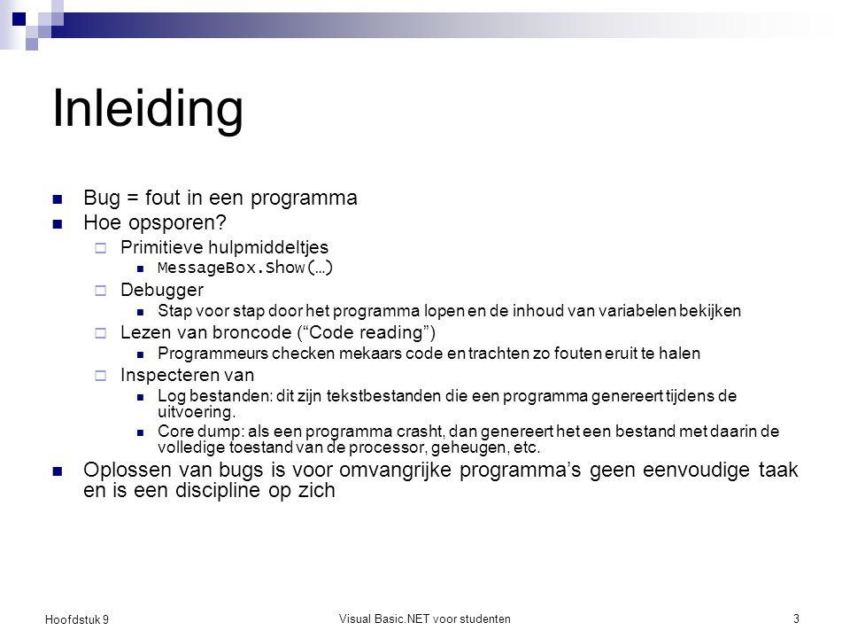 Hoofdstuk 9 Visual Basic.NET voor studenten3 Inleiding Bug = fout in een programma Hoe opsporen?  Primitieve hulpmiddeltjes MessageBox.Show(…)  Debu