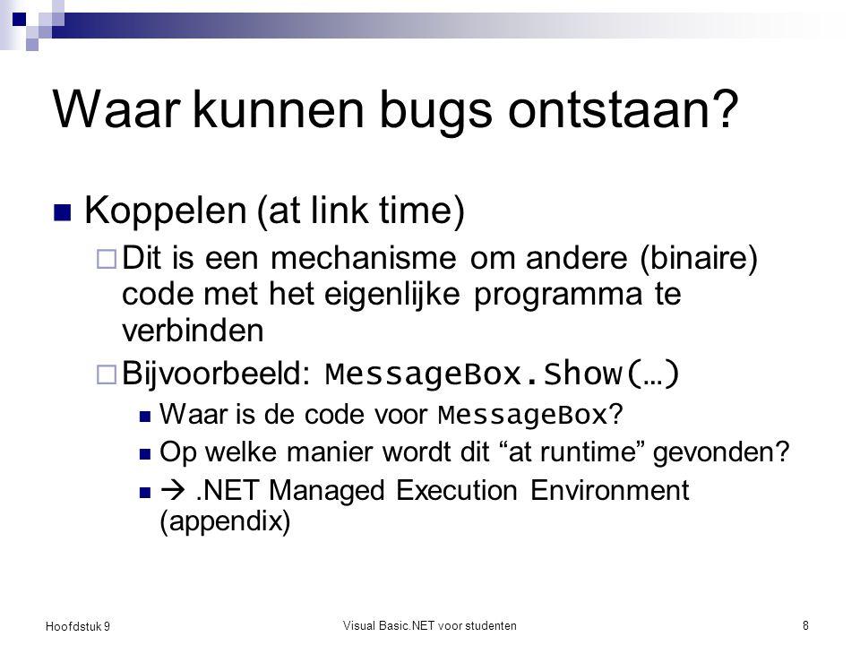 Hoofdstuk 9 Visual Basic.NET voor studenten8 Waar kunnen bugs ontstaan? Koppelen (at link time)  Dit is een mechanisme om andere (binaire) code met h