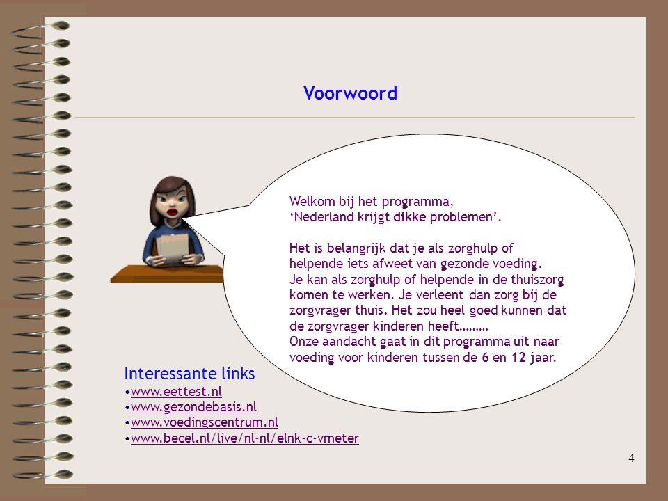 4 Voorwoord Interessante links www.eettest.nl www.gezondebasis.nl www.voedingscentrum.nl www.becel.nl/live/nl-nl/elnk-c-vmeter Welkom bij het programm