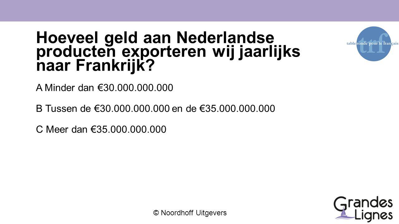 © Noordhoff Uitgevers Hoeveel geld aan Nederlandse producten exporteren wij jaarlijks naar Frankrijk? A Minder dan €30.000.000.000 B Tussen de €30.000