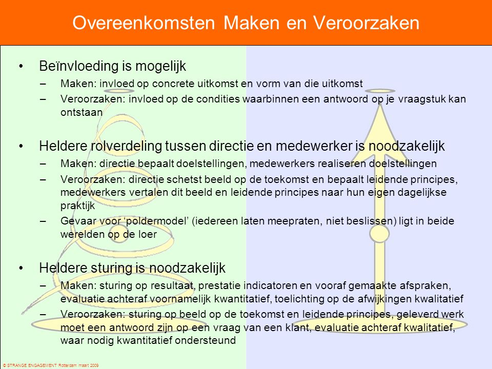 © STRANGE ENGAGEMENT Rotterdam maart 2009 Overeenkomsten Maken en Veroorzaken Beïnvloeding is mogelijk –Maken: invloed op concrete uitkomst en vorm va