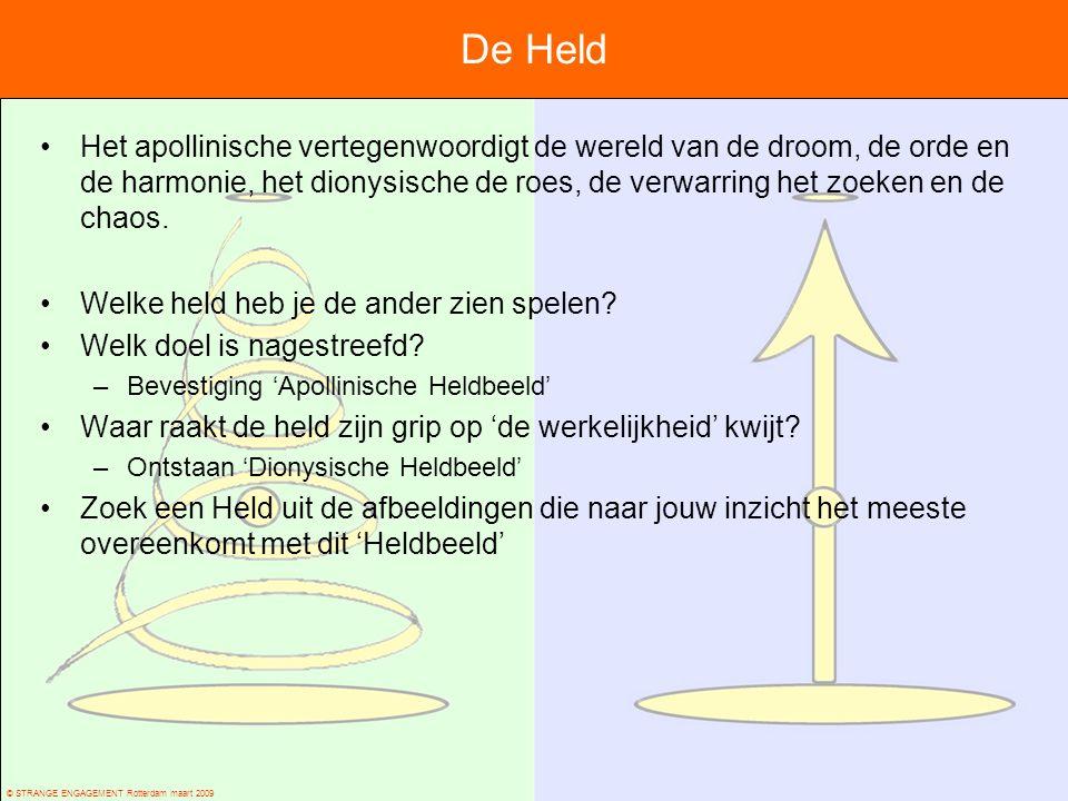 © STRANGE ENGAGEMENT Rotterdam maart 2009 De Held Het apollinische vertegenwoordigt de wereld van de droom, de orde en de harmonie, het dionysische de