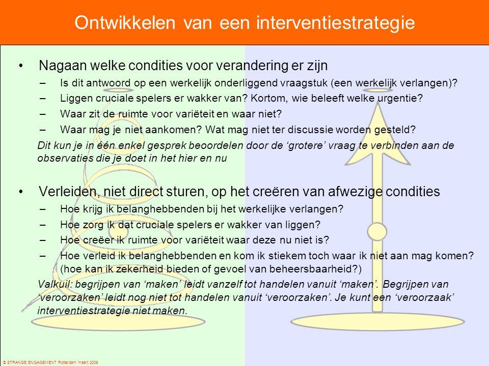 © STRANGE ENGAGEMENT Rotterdam maart 2009 Ontwikkelen van een interventiestrategie Nagaan welke condities voor verandering er zijn –Is dit antwoord op