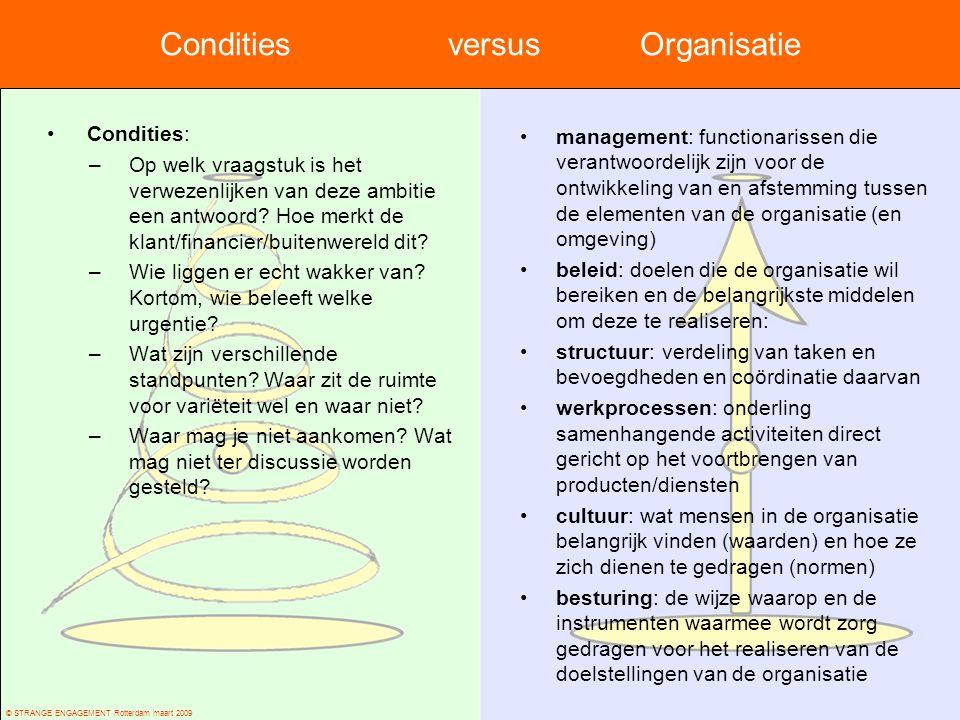 © STRANGE ENGAGEMENT Rotterdam maart 2009 Condities versus Organisatie Condities: –Op welk vraagstuk is het verwezenlijken van deze ambitie een antwoo