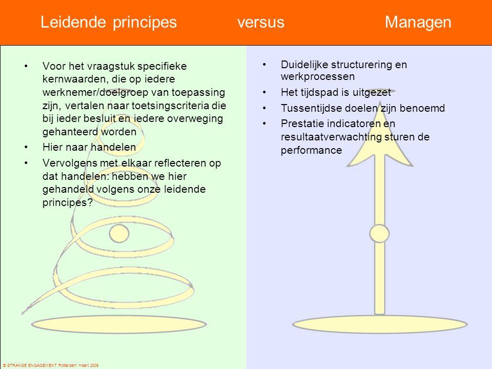© STRANGE ENGAGEMENT Rotterdam maart 2009 Leidende principes versusManagen Voor het vraagstuk specifieke kernwaarden, die op iedere werknemer/doelgroe