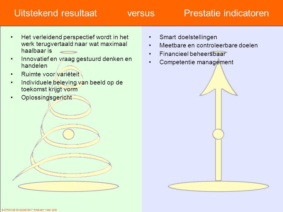 © STRANGE ENGAGEMENT Rotterdam maart 2009 Uitstekend resultaat versus Prestatie indicatoren Het verleidend perspectief wordt in het werk terugvertaald
