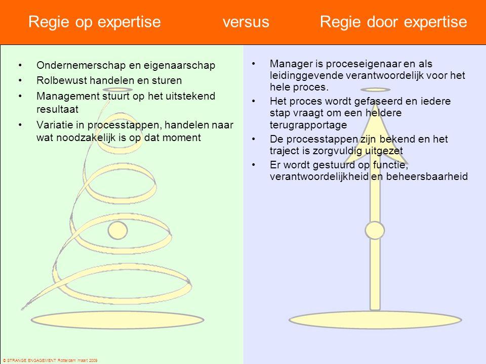 © STRANGE ENGAGEMENT Rotterdam maart 2009 Regie op expertise versus Regie door expertise Ondernemerschap en eigenaarschap Rolbewust handelen en sturen