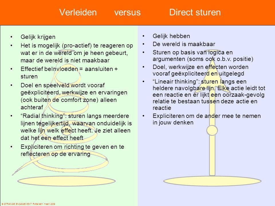 © STRANGE ENGAGEMENT Rotterdam maart 2009 Verleidenversus Direct sturen Gelijk krijgen Het is mogelijk (pro-actief) te reageren op wat er in de wereld