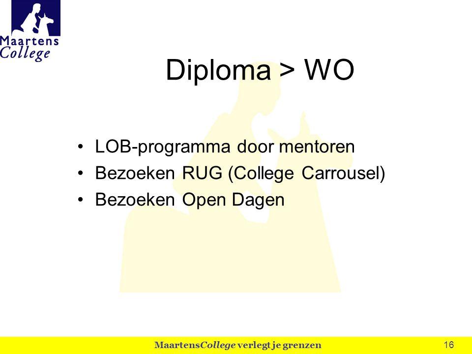 16 Diploma > WO LOB-programma door mentoren Bezoeken RUG (College Carrousel) Bezoeken Open Dagen MaartensCollege verlegt je grenzen