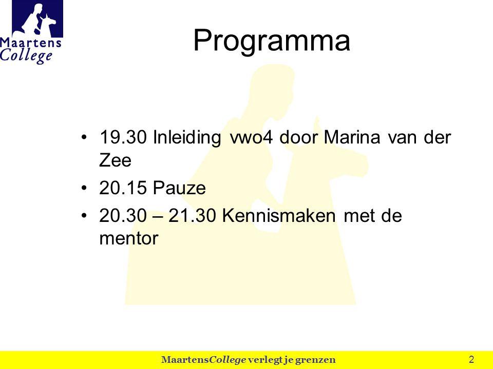 3 Even voorstellen (1) Mentoren Vwo 4 Ronald Tieben, En Boudewijn van Hees, Bi, ANW, NLT Maarten Vrouenraets, Sk, NLT MaartensCollege verlegt je grenzen