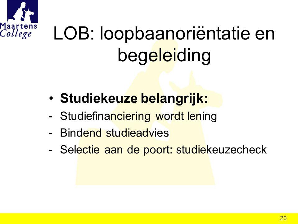 20 LOB: loopbaanoriëntatie en begeleiding Studiekeuze belangrijk: -Studiefinanciering wordt lening -Bindend studieadvies -Selectie aan de poort: studiekeuzecheck