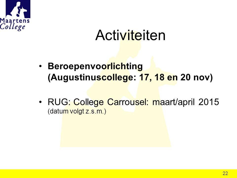 22 Activiteiten Beroepenvoorlichting (Augustinuscollege: 17, 18 en 20 nov) RUG: College Carrousel: maart/april 2015 (datum volgt z.s.m.)
