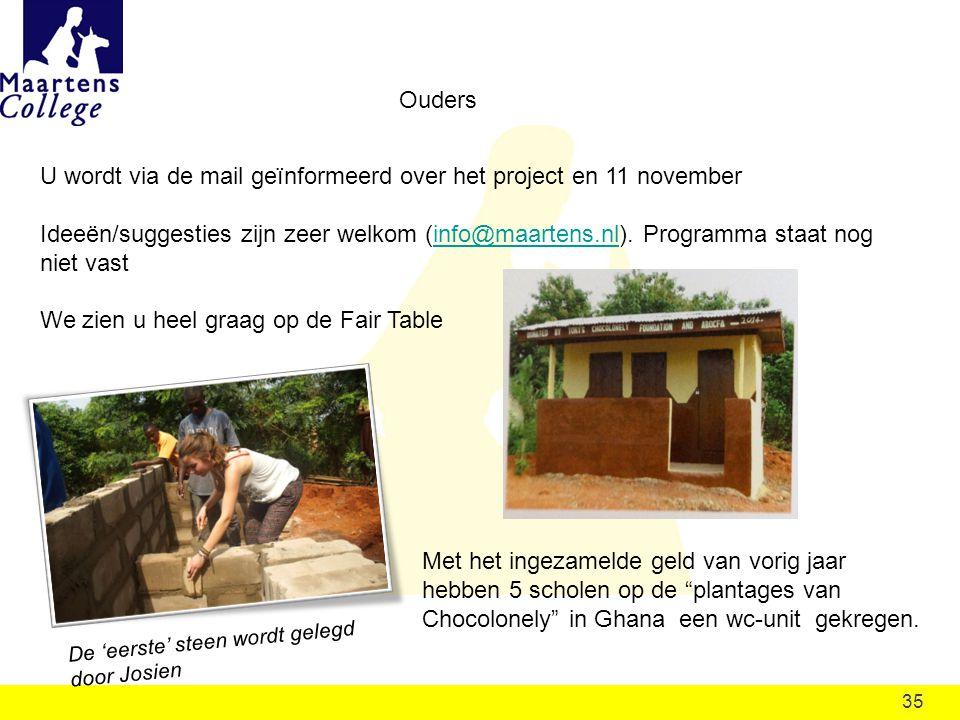 35 Ouders U wordt via de mail geïnformeerd over het project en 11 november Ideeën/suggesties zijn zeer welkom (info@maartens.nl).