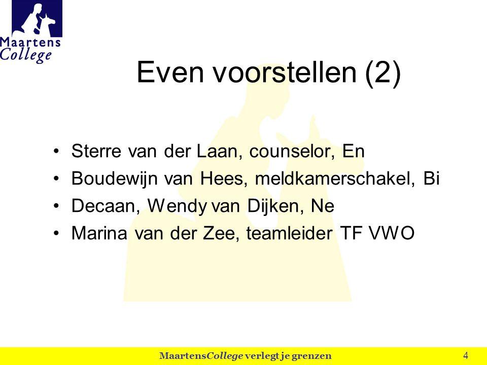 4 Even voorstellen (2) Sterre van der Laan, counselor, En Boudewijn van Hees, meldkamerschakel, Bi Decaan, Wendy van Dijken, Ne Marina van der Zee, teamleider TF VWO MaartensCollege verlegt je grenzen