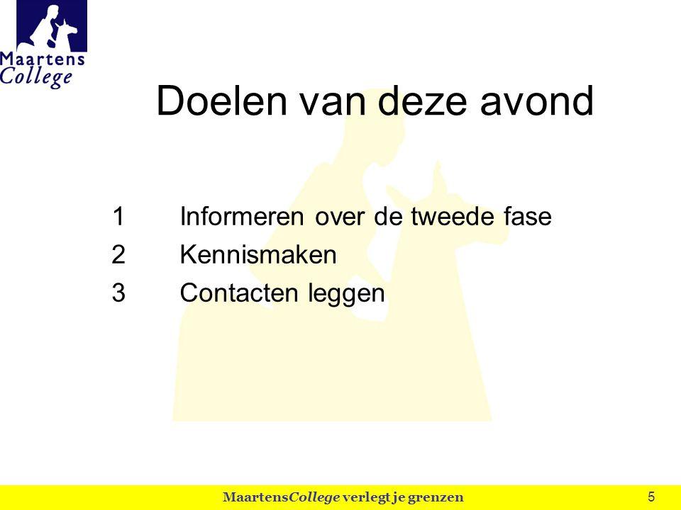 5 Doelen van deze avond 1Informeren over de tweede fase 2Kennismaken 3Contacten leggen MaartensCollege verlegt je grenzen