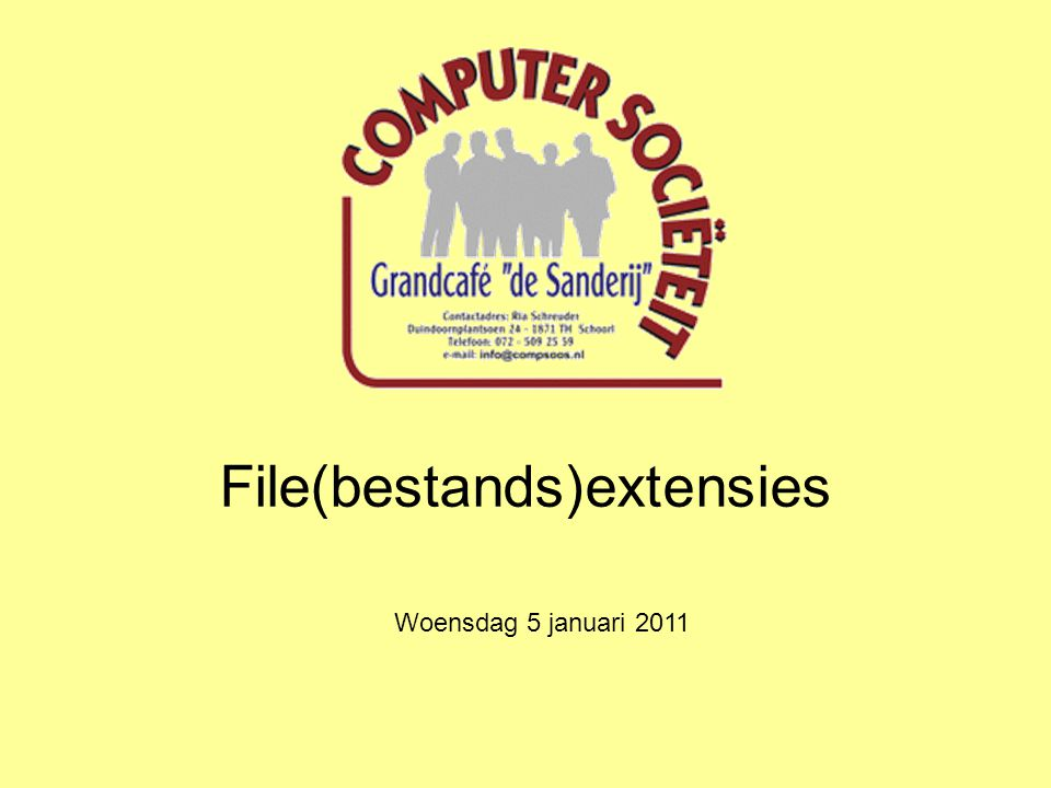 File(bestands)extensies Woensdag 5 januari 2011