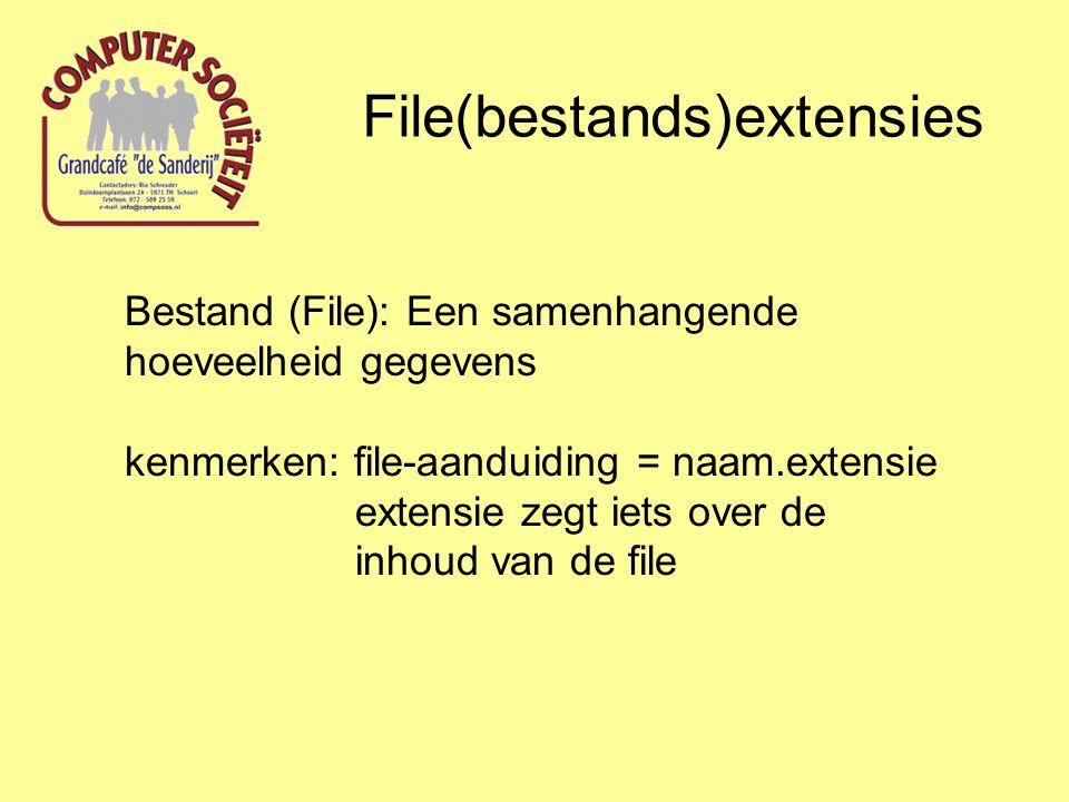 Bestand (File): Een samenhangende hoeveelheid gegevens kenmerken: file-aanduiding = naam.extensie extensie zegt iets over de inhoud van de file File(bestands)extensies
