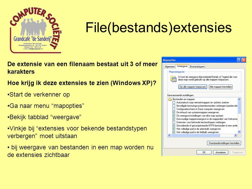 File(bestands)extensies De extensie van een filenaam bestaat uit 3 of meer karakters Hoe krijg ik deze extensies te zien (windows 7).