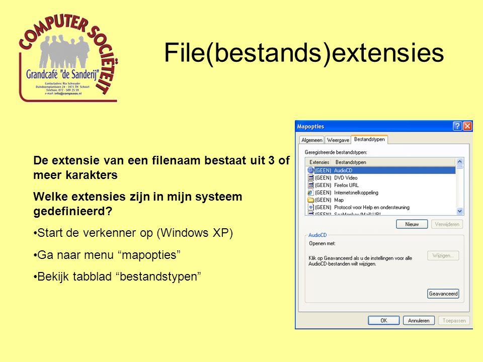 File(bestands)extensies De extensie van een filenaam bestaat uit 3 of meer karakters Welke extensies zijn in mijn systeem gedefinieerd.