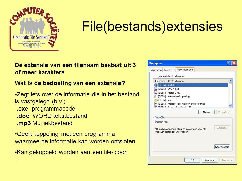File(bestands)extensies De extensie van een filenaam bestaat uit 3 of meer karakters Wat is de bedoeling van een extensie.