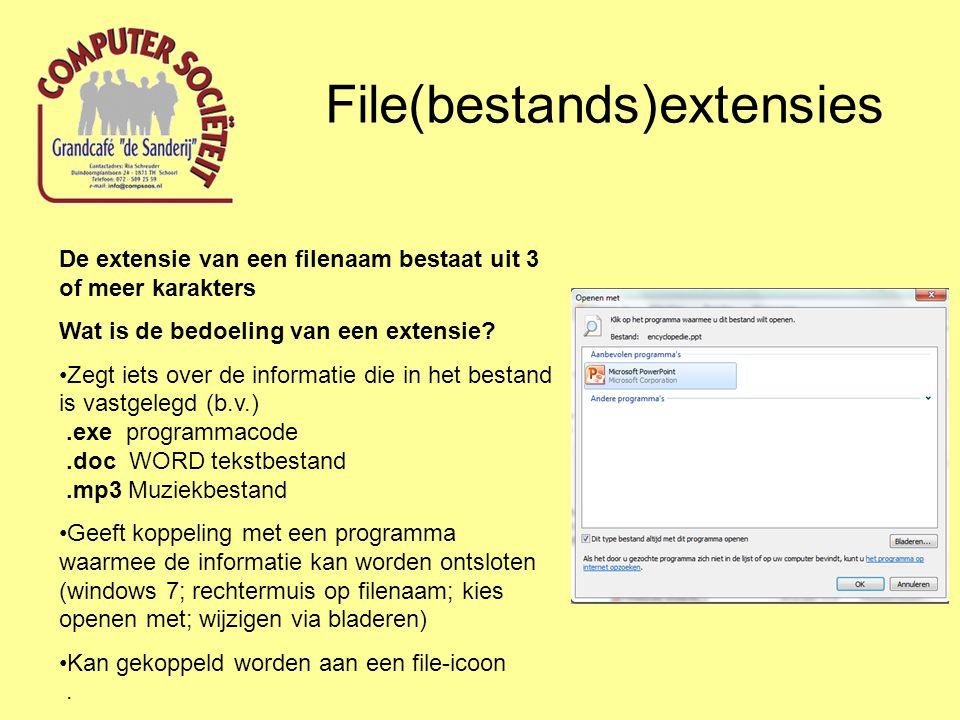 File(bestands)extensies Wat zijn belangrijke extensies.