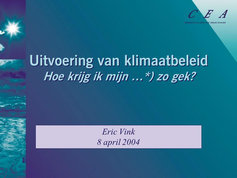 Uitvoering van klimaatbeleid Hoe krijg ik mijn …*) zo gek Eric Vink 8 april 2004