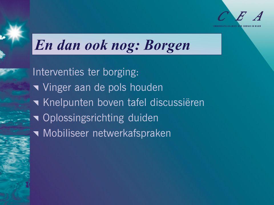 En dan ook nog: Borgen Interventies ter borging:  Vinger aan de pols houden  Knelpunten boven tafel discussiëren  Oplossingsrichting duiden  Mobiliseer netwerkafspraken