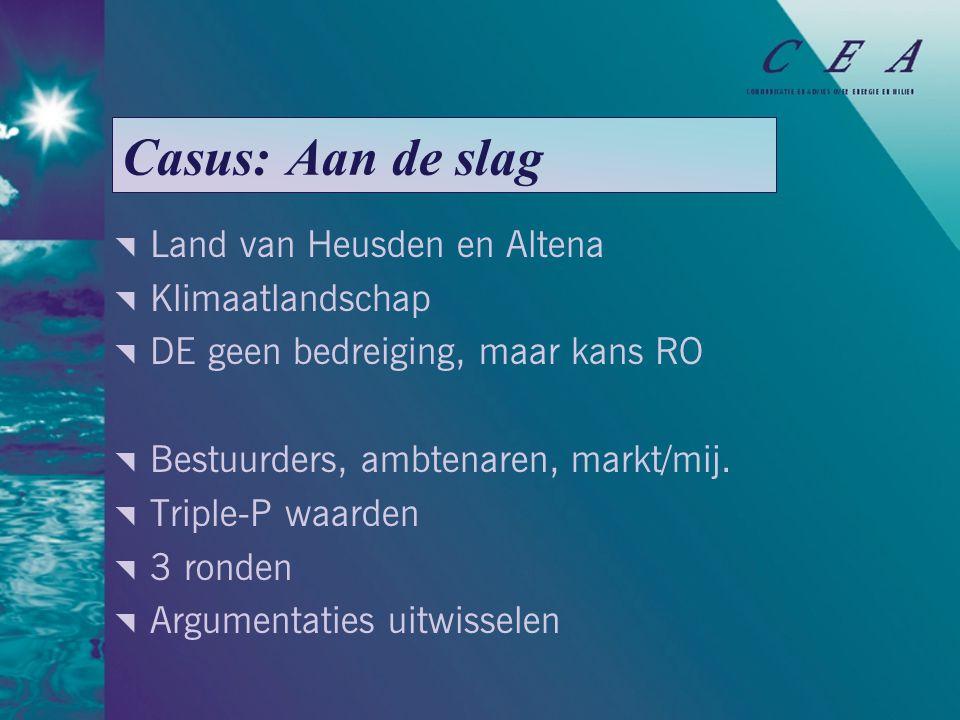 Casus: Aan de slag  Land van Heusden en Altena  Klimaatlandschap  DE geen bedreiging, maar kans RO  Bestuurders, ambtenaren, markt/mij.